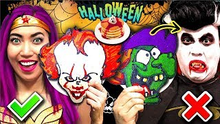 Funny Halloween Pancake Art Challenge!!! Who Will Win? (CC Available)