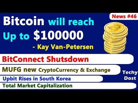 Bitcoin will reach Up to $100000, BitConnect Shutsdown, MUFG new Crypto, Upbit Rises, Market Cap