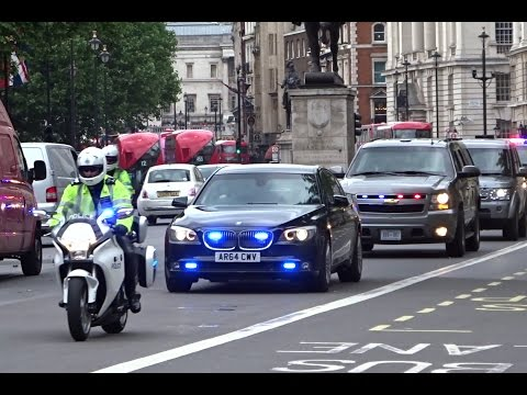Police & Secret Service escorting Michelle Obama in London