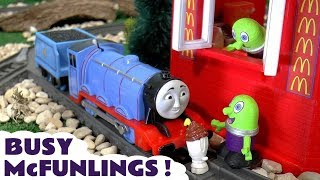 Thomas and Friends Toy Trains visit the McDonald's Drive Thru & served by the funny Funlings TT4U