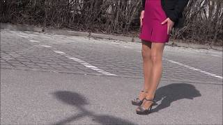 crush a cigarette in High Heels and shine Pantyhose