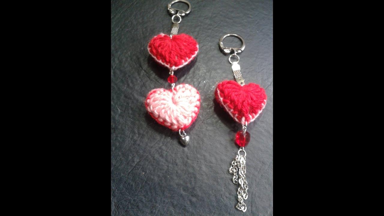 Como tejer un corazon al crochet para hacer un llavero - Como tejer mantas al crochet ...