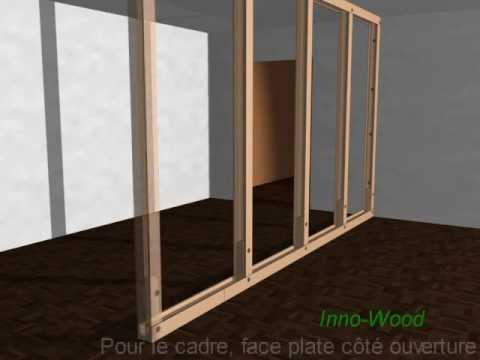 d mo de construction d 39 une cloison en profil s bois youtube. Black Bedroom Furniture Sets. Home Design Ideas