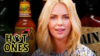 Charlize Theron Takes a Rorschach Test While Eating Spicy Wings   Hot Ones