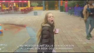 Girl spit yogurt to talking fountain in walibi