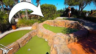 THIS NEVER HAPPENS AT A MINI GOLF COURSE! CRAZY DOUBLE MINI GOLF HOLE IN ONE!
