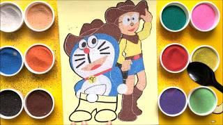 Đồ chơi trẻ em TÔ MÀU TRANH CÁT NÔBITA và ĐÔRÊMON cao bồi - Colored sand painting toys (Chim Xinh)