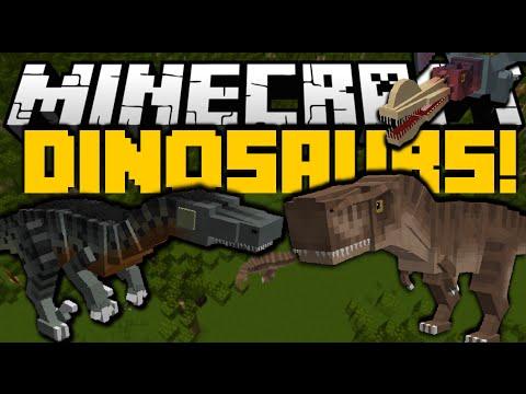 Minecraft: DINOSAURS JURASSIC WORLD (Indominus Rex. Fish Dinosaurs & More) Mod Showcase