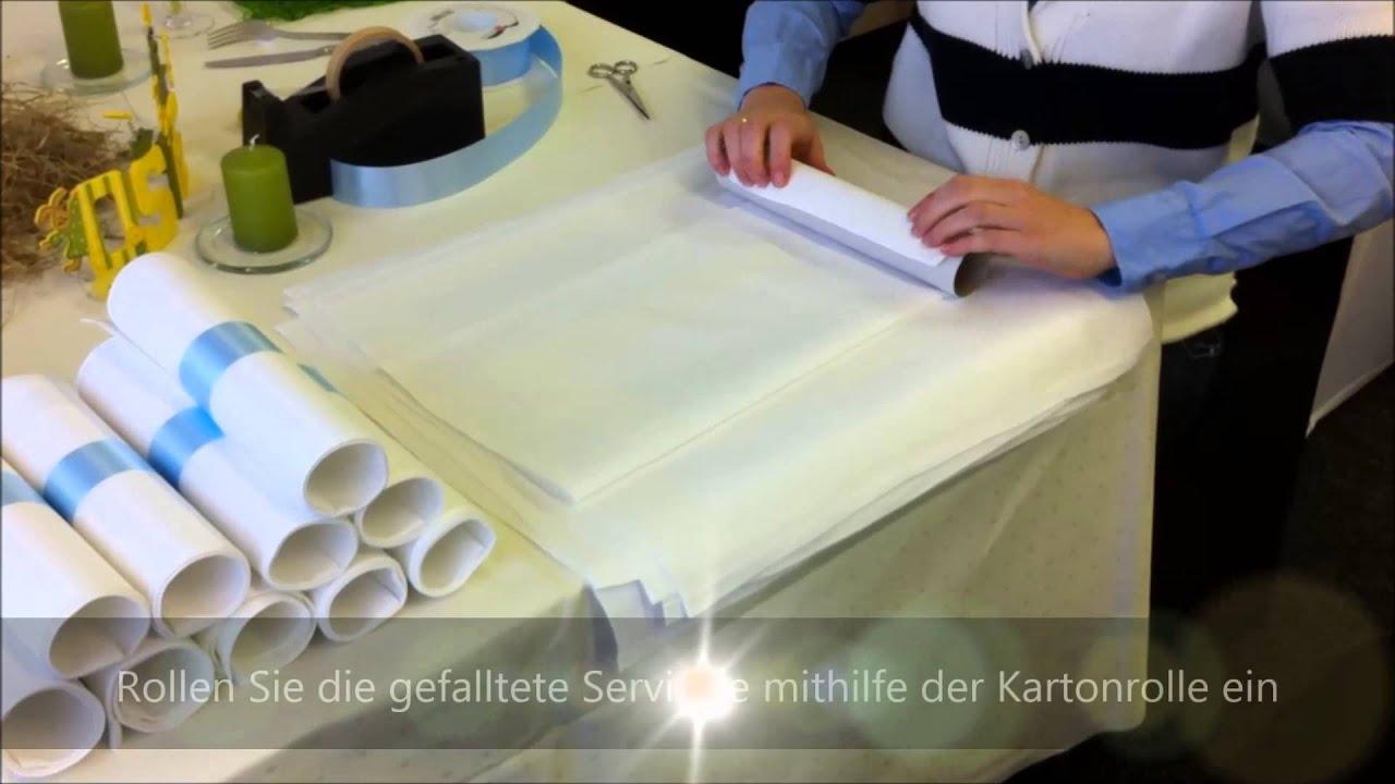 lernvideo serviettenfalttechnik servietten falten rollen f r hochzeit taufe tischdekoration. Black Bedroom Furniture Sets. Home Design Ideas