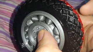 3D printed rubber tyre on 3D printed ball bearings (3dlab print model)