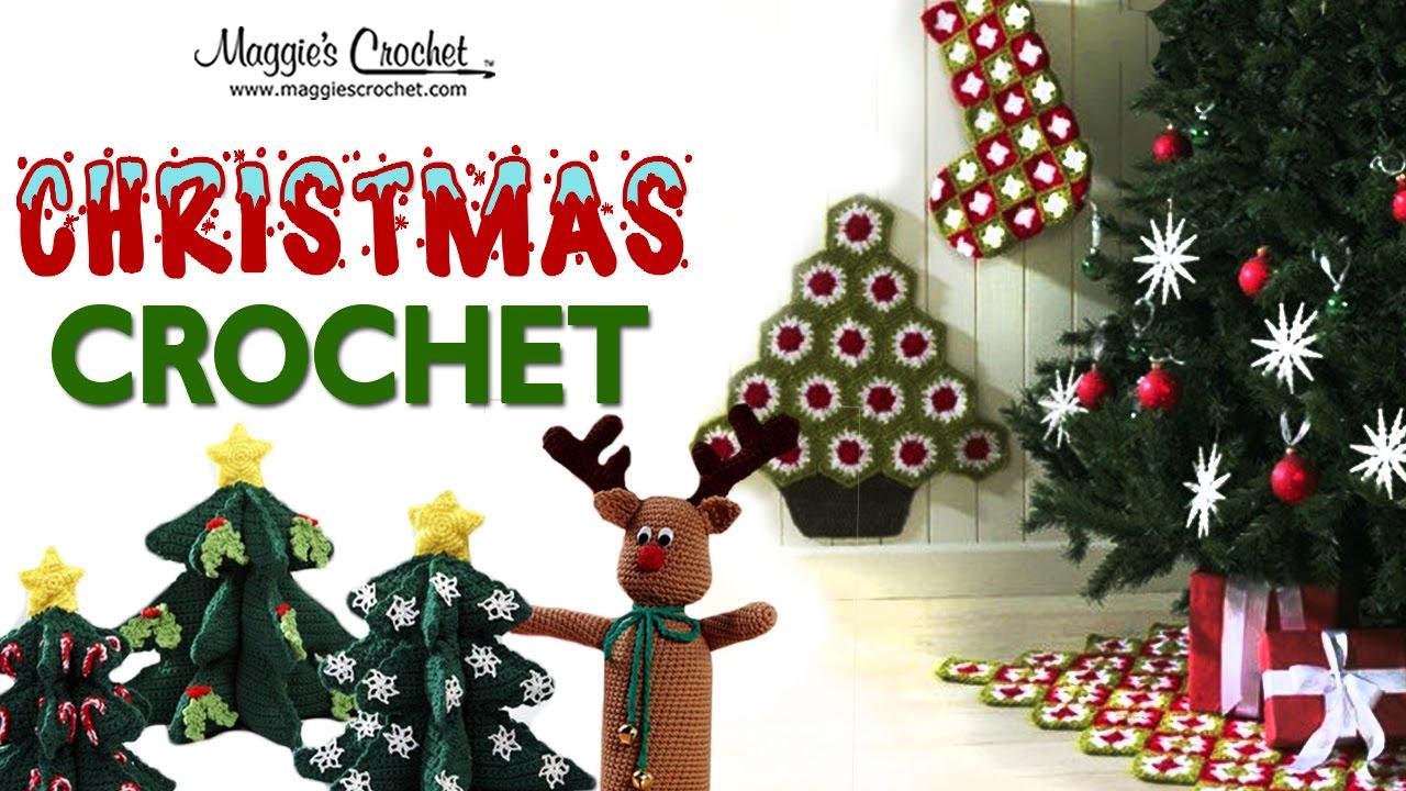Crochet Granny Square Christmas Tree Skirt Stocking And