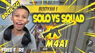BOCIL SOLO RANKED VS SQUAD RATAIN MUSUH MAKE M4A1 & MP40 - GARENA FREE FIRE