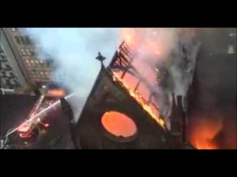 Huge Fire 160 year old Church in New York