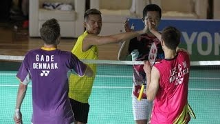 Lee Chong Wei Lin Dan Peter Gade Taufik Hidayat Friendly match 4 kings in same court Badminton