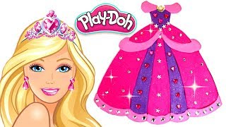 Play Doh Dress for Barbie Princess How to Make Dress & Makeup with Play Doh Creative Fun for Kids