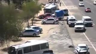 Horrific series of accidents on Abu Dhabi   Dubai road   car crash