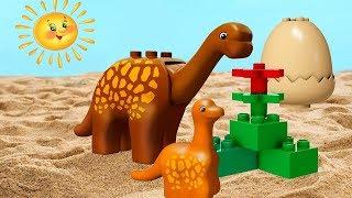LEGO Duplo dinosaur & toy cars. Kids' video.