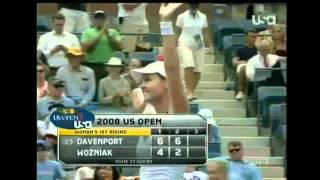 2008 USO R1 Lindsay Davenport VS Aleksandra Wozniak Highlights