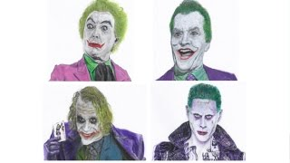 4 Jokers Speed Drawing (at once / Split Screen) | Leto | Ledger | Nicholson | Romero
