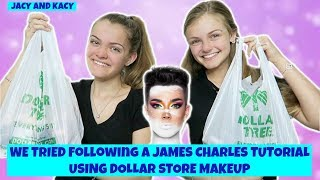 We Tried Following A James Charles Tutorial Using Dollar Store Makeup ~ Jacy and Kacy