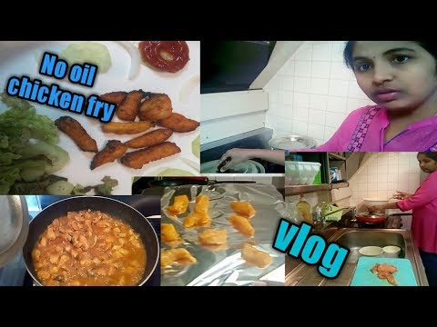 NO OIL .CHICKEN FRY  & TASTY CHICKEN CURRY. Dinner time. Telugu vlogs from JAPAN