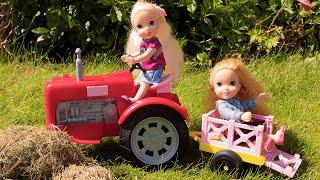 CHICKS! Life on the Farm -  Elsa & Anna toddler dolls - pet farm - Barbie! egg hunt - school trip