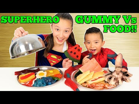Superhero GUMMY Vs REAL FOOD Spiderman Vs Supergirl Challenge Ckn Toys