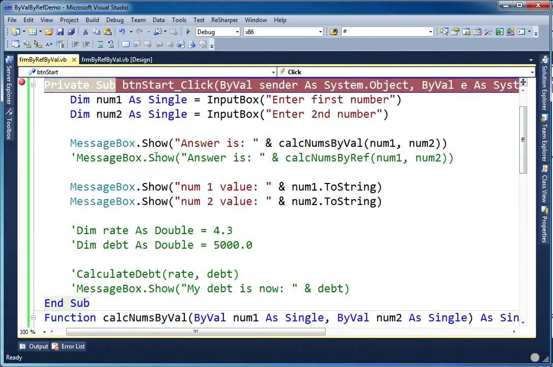 Visual Basic.Net ByRef vs ByVal - YouTube