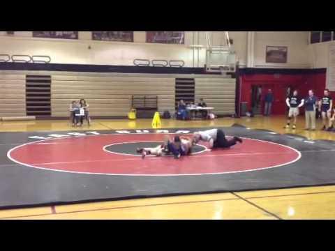 East Surry High School Cody Gaskill wrestling against Mount Airy High School