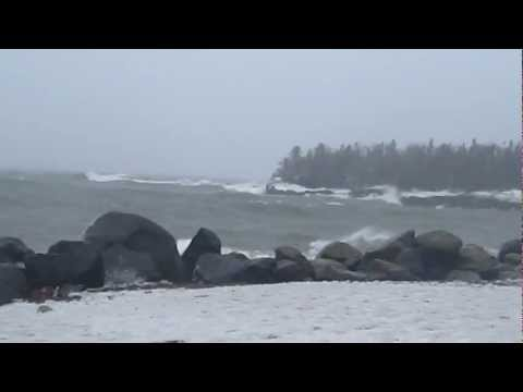 Winter Storm Making Waves in Grand Marais, Minnesota on Lake Superior