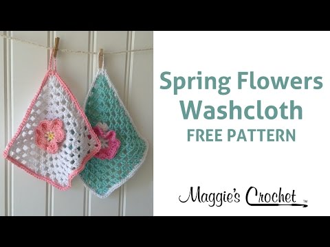 Spring Flowers Dishcloth Free Crochet Pattern with Home Cotton Yarn - Right Handed