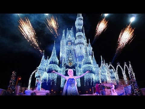 A Frozen Holiday Wish Walt Disney World Castle Lighting Show Magic Kingdom 2014