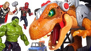 Jurassic World 2 Fallen Kingdom dinosaur T-rex appeared! Marvel Avengers Hulk! Go! - DuDuPopTOY