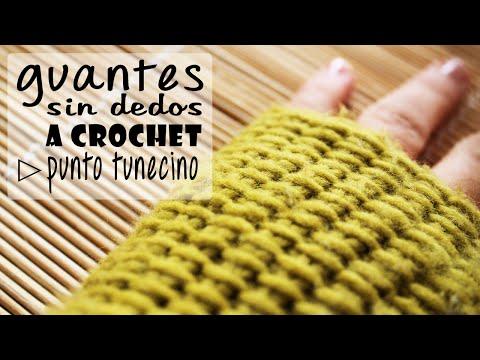 Guantes sin Dedos (Mitones) a Crochet - Punto Tunecino - PASO A PASO