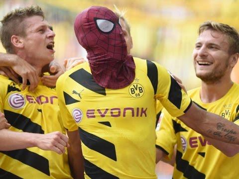 Aubameyang spiderman celebration BVB 2-0 Bayern 2014 HD
