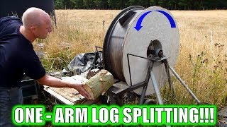 ONE ARMED LOG SPLITTER MAN & WORLDS FASTEST LOG SPLITTER!