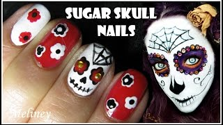 HALLOWEEN NAIL DESIGN SUGAR SKULL NAIL ART TUTORIAL MEXICAN DAY OF THE DEAD EASY SIMPLE