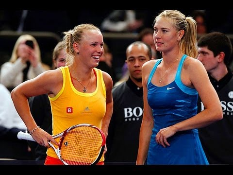 Maria Sharapova and Caroline Wozniacki Dance with Fans