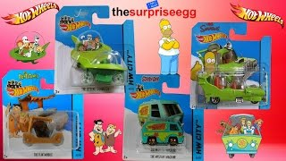 Hot Wheels Flintmobile, Mystery Machine, Jetsons Capsula car, The Homer short card 2014 Die Cast