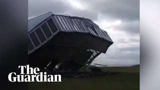 Storm Hector destroys VIP tent on Scottish Open golf course