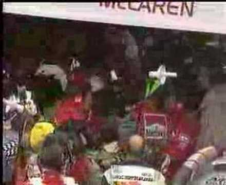 Michael Schumacher In  Pits After Crash With David Coulthard