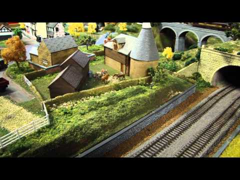 British OO Scale Layout - overview & 3 trains running - scenery dual track DCC Sound