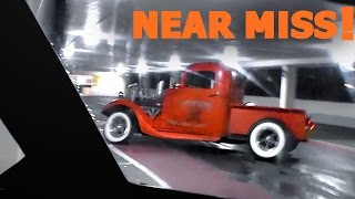 600hp Chevrolet Hot Rod slides and NEAR MISS!