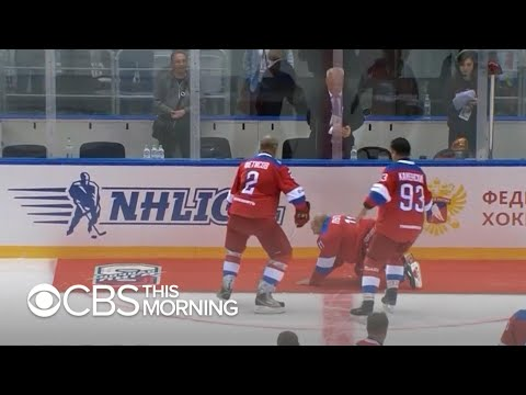 Putin Falls While Doing A Victory Lap During Hockey Game