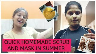 How I TAKE CARE OF MY SKIN IN SUMMER || BEST 2 QUICK FACE SCRUB AND MASK TO REMOVE TANNED SKIN