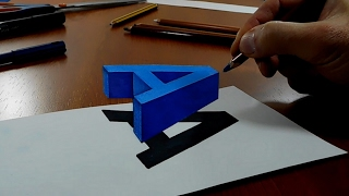 Try to do 3D Trick Art on Paper, Floating letter A