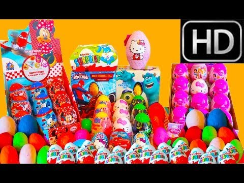 100 Kinder Surprise Eggs Unboxing 1 Hour MAXI COMPILATION Giant Peppa Pig Hello Kitty Cars HD