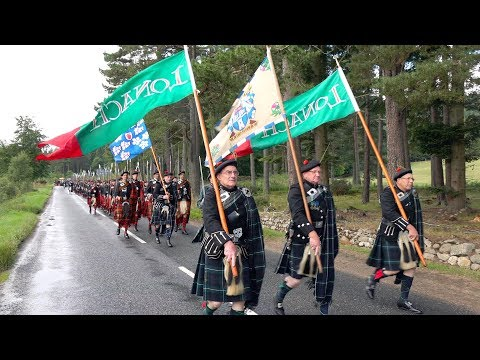 2018 Lonach Highlanders Gathering return march through Strathdon to Bellabeg, Scotland (4K)