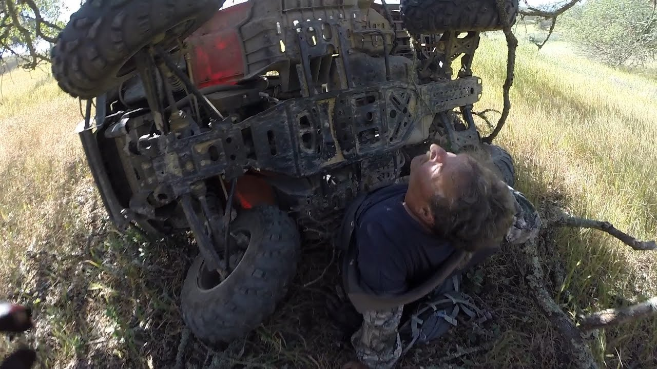 [Heroic Biker Saves Injured Man Trapped Underneath ATV] Video