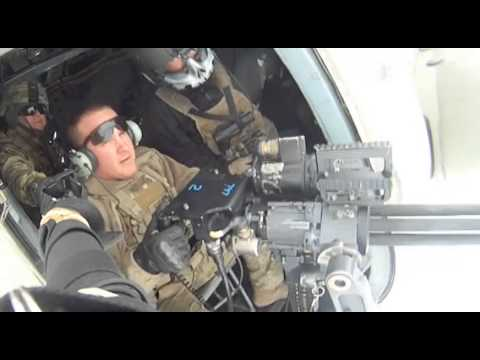 Minigun Fired From Mi-17 Helicopter Near Kabul. Afghanistan